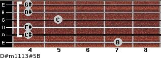 D#m11/13#5/B for guitar on frets 7, 4, 4, 5, 4, 4