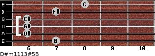 D#m11/13#5/B for guitar on frets 7, 6, 6, 6, 7, 8