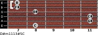 D#m11/13#5/C for guitar on frets 8, 11, 11, 8, 7, 7