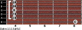 D#m11/13#5/C for guitar on frets 8, 4, 4, 4, 4, 4