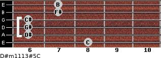 D#m11/13#5/C for guitar on frets 8, 6, 6, 6, 7, 7