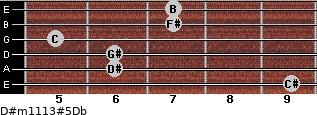 D#m11/13#5/Db for guitar on frets 9, 6, 6, 5, 7, 7