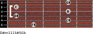 D#m11/13#5/Gb for guitar on frets 2, 4, 1, 4, 1, 4