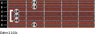 D#m11/Gb for guitar on frets 2, 1, 1, 1, 2, 2