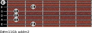 D#m11/Gb add(m2) for guitar on frets 2, 1, 1, 1, 2, 0