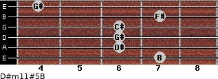 D#m11#5/B for guitar on frets 7, 6, 6, 6, 7, 4