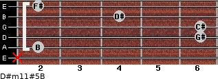 D#m11#5/B for guitar on frets x, 2, 6, 6, 4, 2