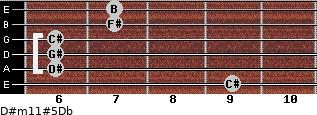 D#m11#5/Db for guitar on frets 9, 6, 6, 6, 7, 7
