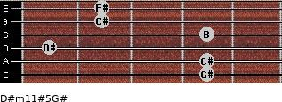D#m11#5/G# for guitar on frets 4, 4, 1, 4, 2, 2