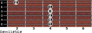 D#m11#5/G# for guitar on frets 4, 4, 4, 4, 4, 2
