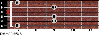 D#m11#5/B for guitar on frets 7, 9, 9, x, 9, 7