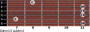D#m13 add(m2) for guitar on frets 11, 7, 11, 11, 11, 8