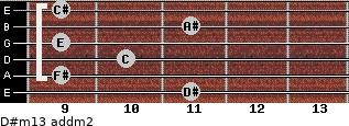 D#m13 add(m2) for guitar on frets 11, 9, 10, 9, 11, 9