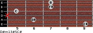 D#m13#5/C# for guitar on frets 9, 6, x, 5, 7, 7
