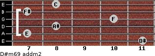 D#m6/9 add(m2) for guitar on frets 11, 7, 8, 10, 7, 8