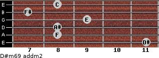 D#m6/9 add(m2) for guitar on frets 11, 8, 8, 9, 7, 8