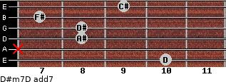 D#m7/D add(7) for guitar on frets 10, x, 8, 8, 7, 9