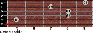 D#m7/D add(7) for guitar on frets x, 5, 8, 8, 7, 9