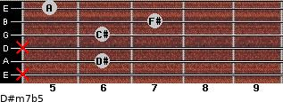 D#m7b5 for guitar on frets x, 6, x, 6, 7, 5