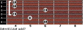 D#m9/11/A# add(7) for guitar on frets 6, 5, 4, 6, 4, 4