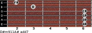 D#m9/11/A# add(7) for guitar on frets 6, 6, 6, 6, 3, 2