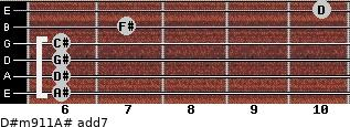 D#m9/11/A# add(7) for guitar on frets 6, 6, 6, 6, 7, 10