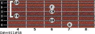 D#m9/11#5/B for guitar on frets 7, 6, 4, 6, 6, 4
