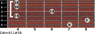 D#m9/11#5/B for guitar on frets 7, 8, 4, 6, 4, 4