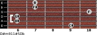 D#m9/11#5/Db for guitar on frets 9, 6, 6, 10, 7, 7