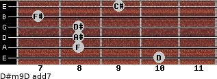 D#m9/D add(7) for guitar on frets 10, 8, 8, 8, 7, 9