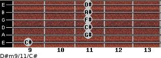 D#m9/11/C# for guitar on frets 9, 11, 11, 11, 11, 11