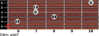 D#m(add7) for guitar on frets x, 6, 8, 7, 7, 10