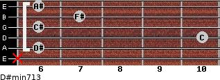 D#min7/13 for guitar on frets x, 6, 10, 6, 7, 6