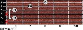 D#min7/13 for guitar on frets x, 6, x, 6, 7, 8