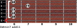 D#min7(add11) for guitar on frets x, 6, 6, 6, 7, 6