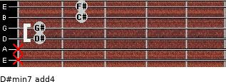 D#min7(add4) for guitar on frets x, x, 1, 1, 2, 2