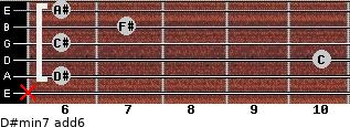 D#min7(add6) for guitar on frets x, 6, 10, 6, 7, 6