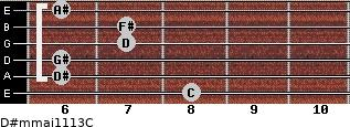 D#m(maj11/13)/C for guitar on frets 8, 6, 6, 7, 7, 6