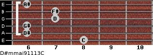 D#m(maj9/11/13)/C for guitar on frets 8, 6, 6, 7, 7, 6