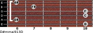 D#m(maj9/13)/D for guitar on frets 10, 6, 10, 10, 7, 6