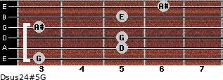Dsus2/4(#5)/G for guitar on frets 3, 5, 5, 3, 5, 6