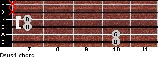 Dsus4 for guitar on frets 10, 10, 7, 7, x, x