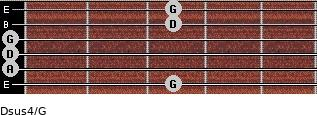 Dsus4/G for guitar on frets 3, 0, 0, 0, 3, 3