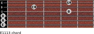 E11/13 for guitar on frets 0, 0, 0, 4, 2, 4