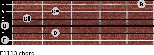 E11/13 for guitar on frets 0, 2, 0, 1, 2, 5