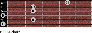 E11/13 for guitar on frets 0, 2, 0, 2, 2, 4