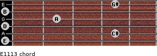 E11/13 for guitar on frets 0, 4, 0, 2, 0, 4