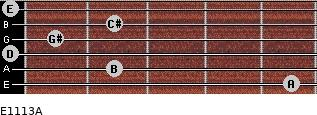 E11/13/A for guitar on frets 5, 2, 0, 1, 2, 0