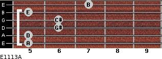 E11/13/A for guitar on frets 5, 5, 6, 6, 5, 7