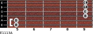 E11/13/A for guitar on frets 5, 5, 9, 9, 9, 9